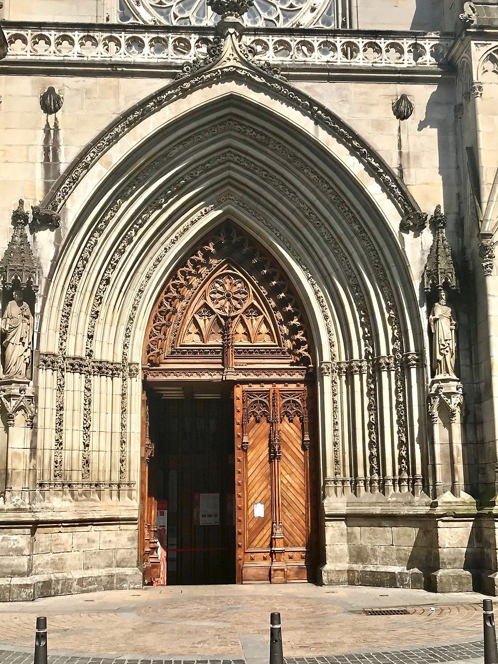 ornate doorway of the 14th century Santiago Cathedral in old town Bilbao