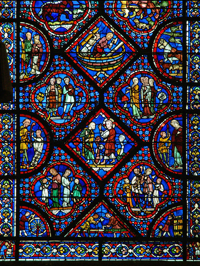 the beautiful blue stained glass in the Noah Window of Chartres Cathedral