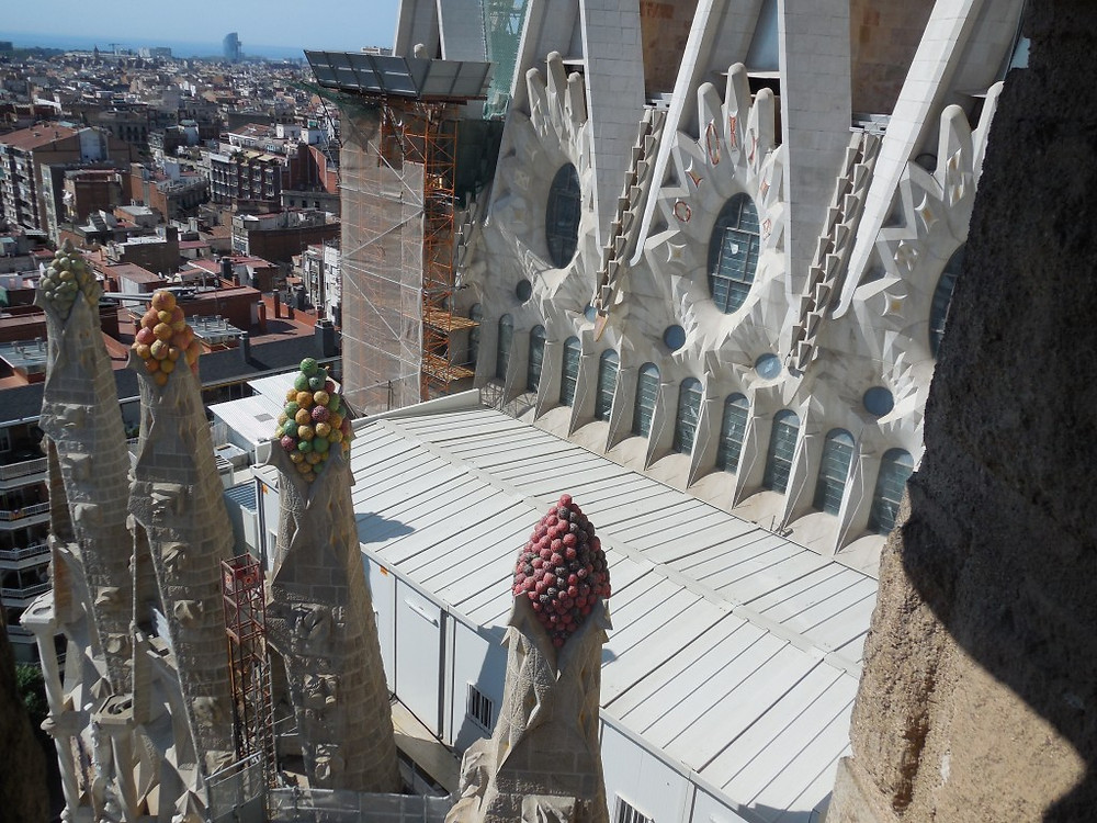 View from the Nativity Tower. You can see the colored bunches on the mini towers, which represent the eucharist.