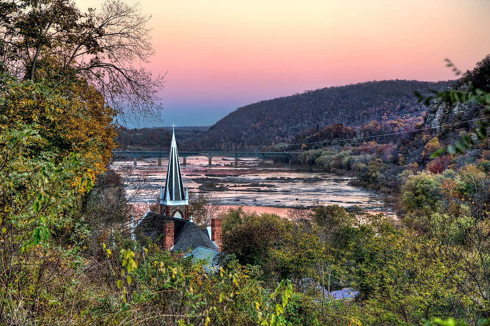 view of Harper's Ferry on the Potomac River
