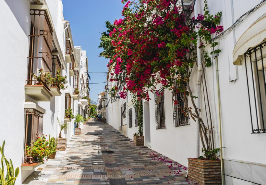 pretty lane in Marbella, a resort town in southern Spain