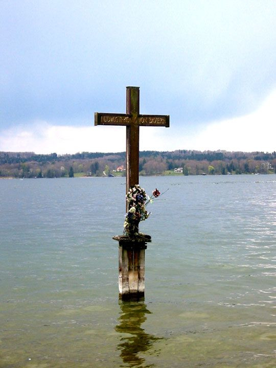 memorial cross on Lake Starnberg in Bavaria, the site of Ludwig's supposed drowning death