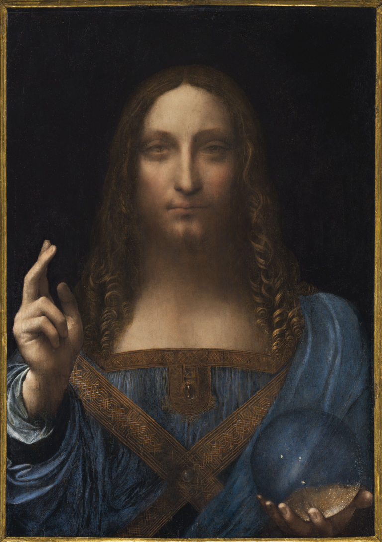 "Attributed to Leonardo da Vinci, ""Salvator Mundi"" (c.1500), oil on panel, 25 7/8 x 18 inches."