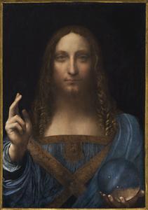 "Leonardo da Vinci, ""Salvator Mundi"" (c.1500), oil on panel, 25 7/8 x 18 inches"