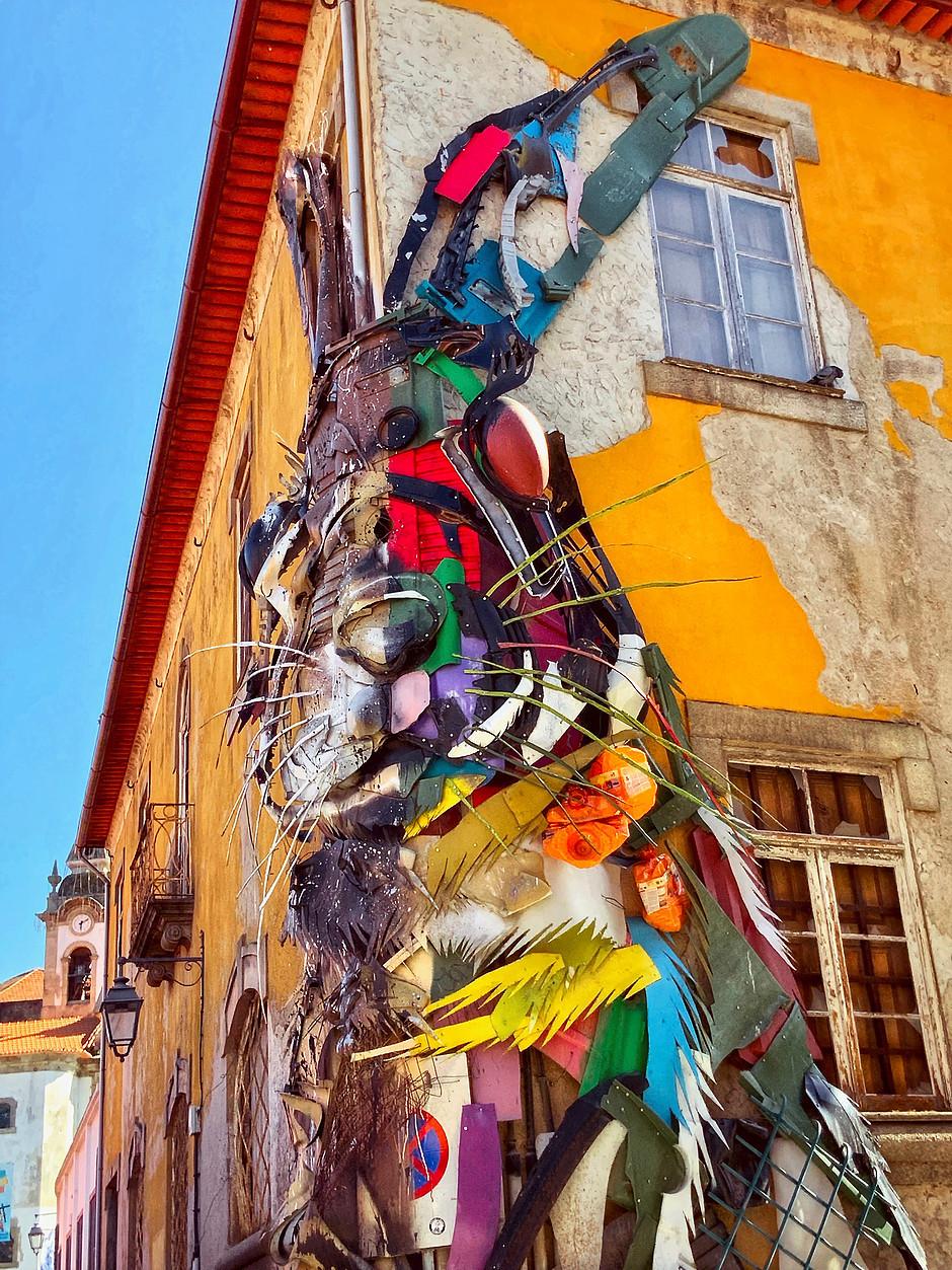 "street art installation ""Half Rabbit"" by Lisbon artist Bordalo II."