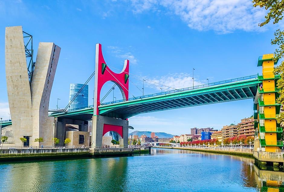 La Salve Bridge in Bilbao, also known as the Prince and Princess of Spain Bridge