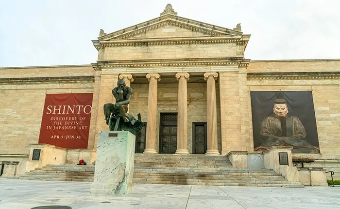 entrance to the Cleveland Museum of Art, with a cast of Rodin's The Thinker