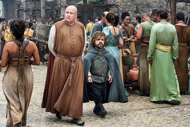 Tyrion and Varys crossing the Roman Bridge, CGI'd into the Long Bridge of Volantis.