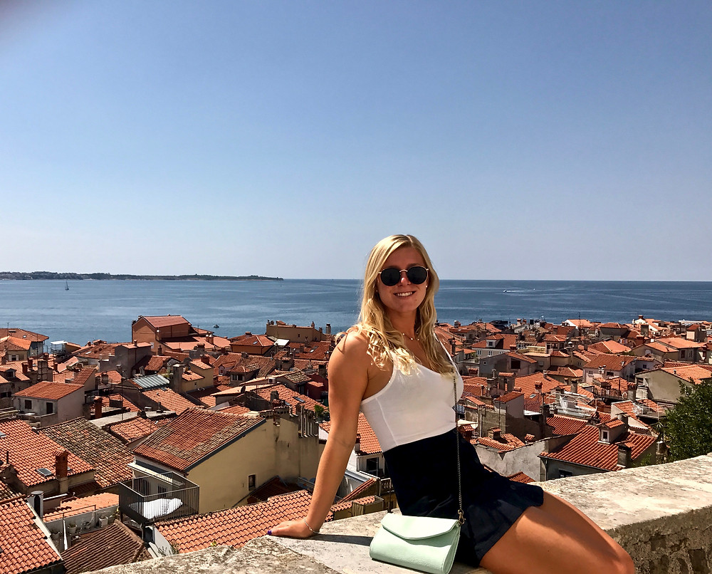 my daughter atop St. George's Castle in Piran