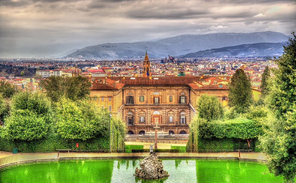 view of the Pitti Palace from the Boboli Gardens
