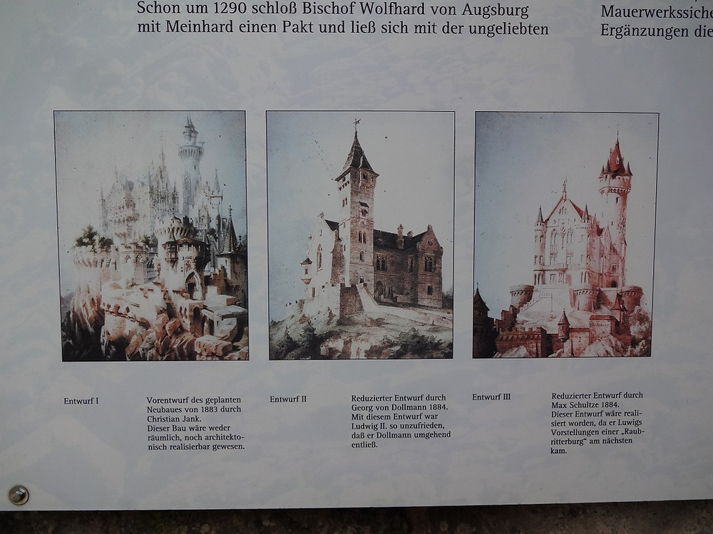 early drafts of Ludwig's planned Gothic castle, Falkenstein