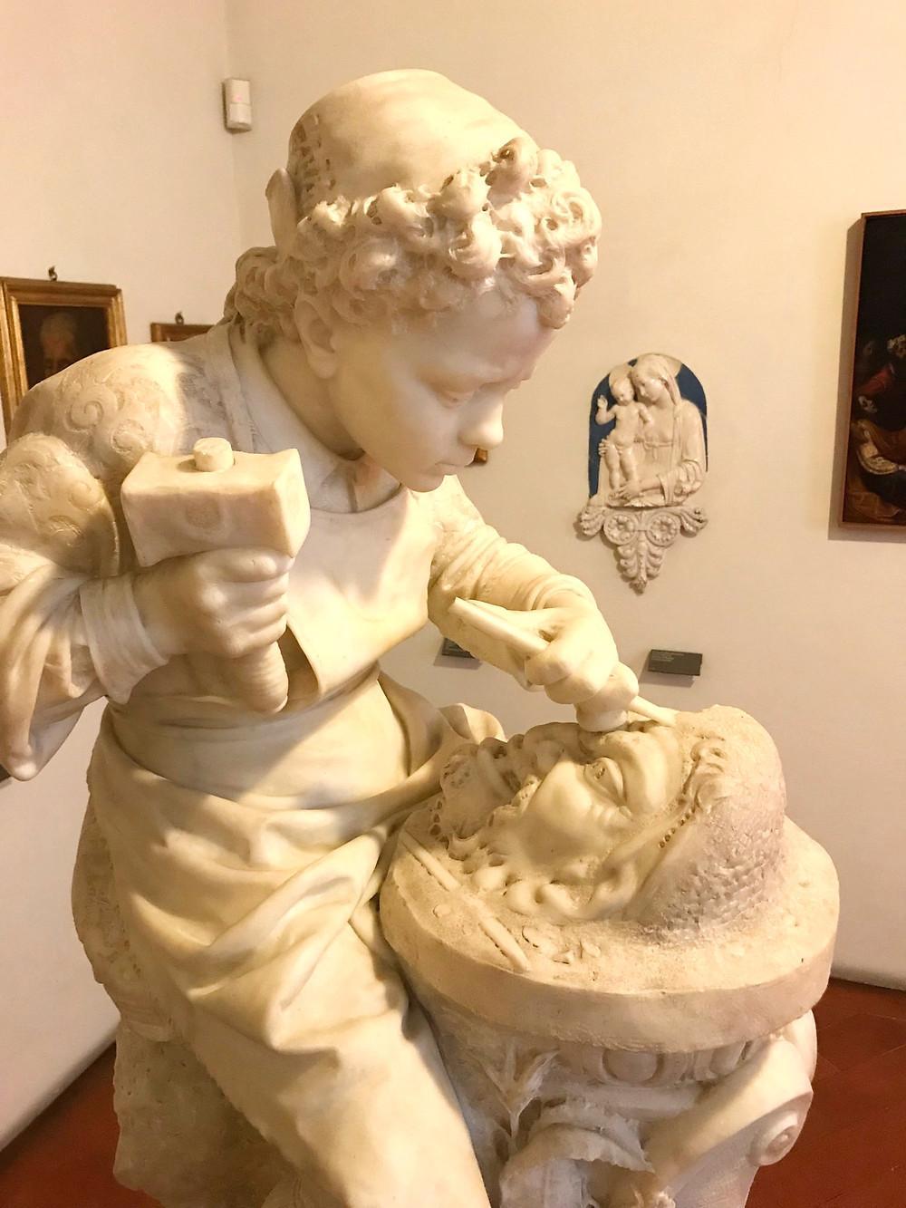 Emilio Zocchi, Michelangelo Sculpting the Head of a Fawn