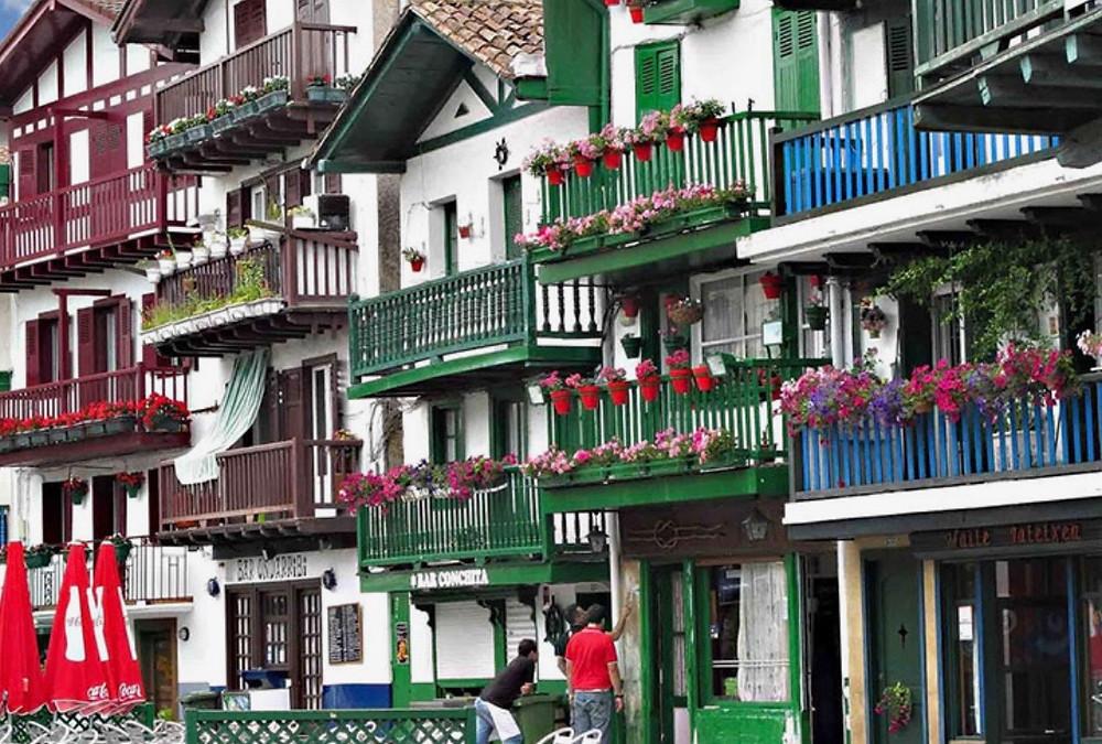 the colorful Basque town of Hondaribbia Spain outside San Sebastian