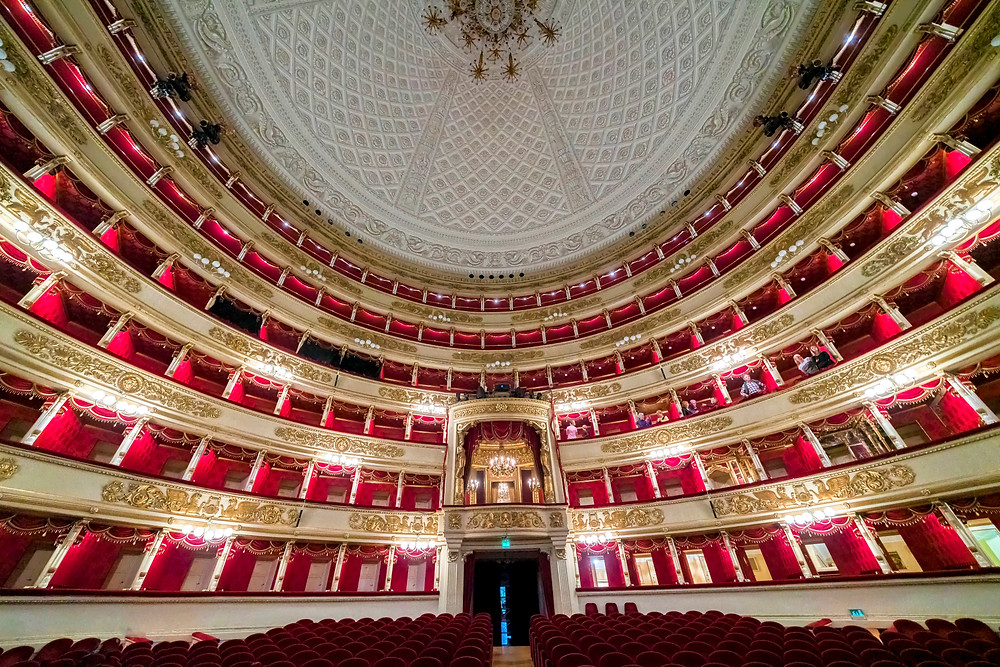 the red velvet of La Scala opera house