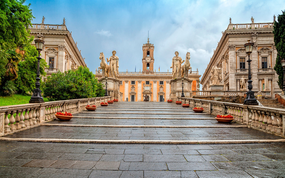 Michelangelo stairs to Piazza del Campidoglio on top of Capitoline Hill, where you'll find the Capitoline Museums