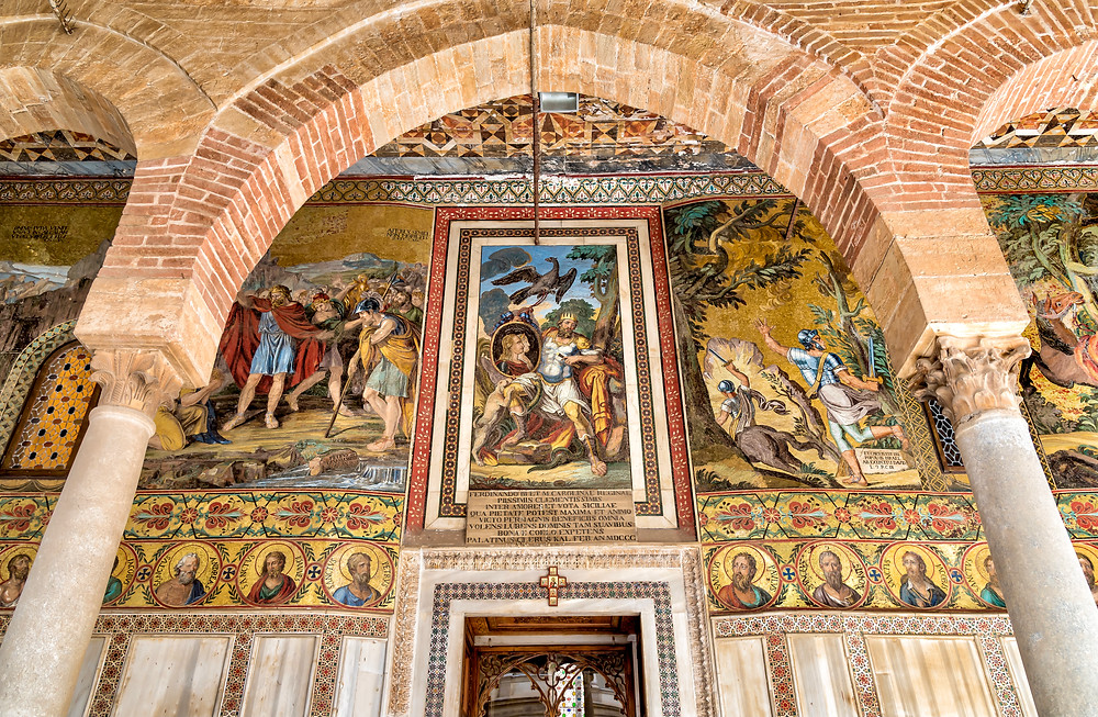 mosaic decoration over the entrance to the Palatine Chapel in Palermo
