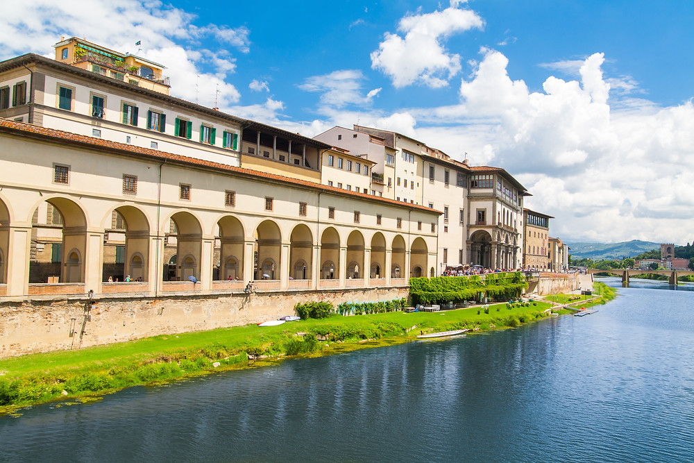 view of the Uffizi Gallery on the embankment of the Arno River