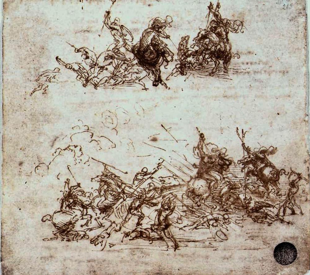 Leonardo da Vinci, Study of Battles on Horseback and Foot, 1503-04 -- in Venice's Academia Gallery