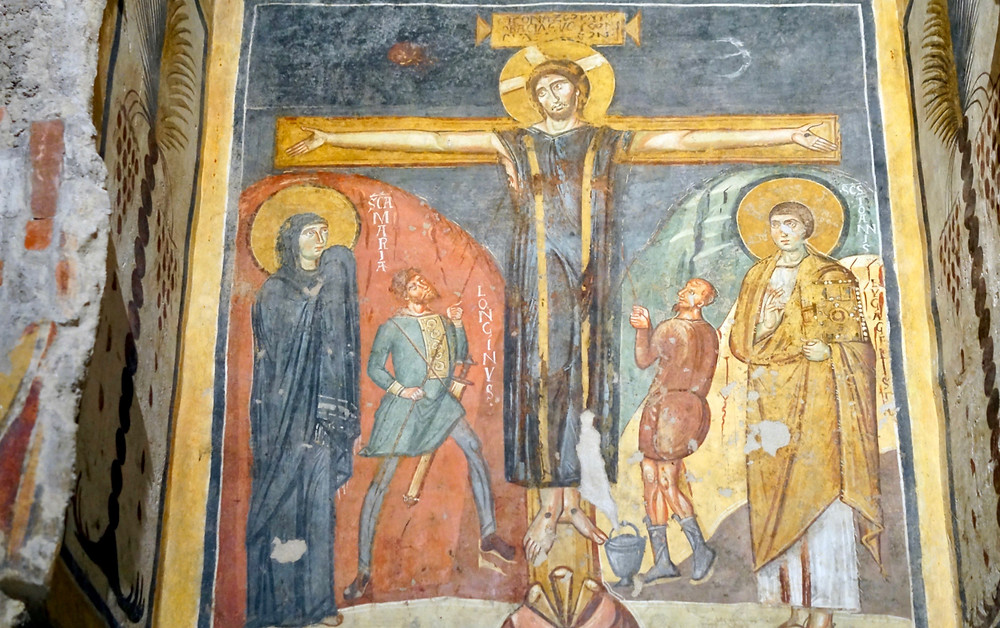 the Crucifixion in the Theodotus Chapel of Sant Maria Antiqua in the Roman Forum