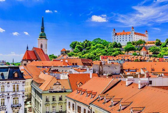cityscape of Bratislava, with a view of Bratislava Castle