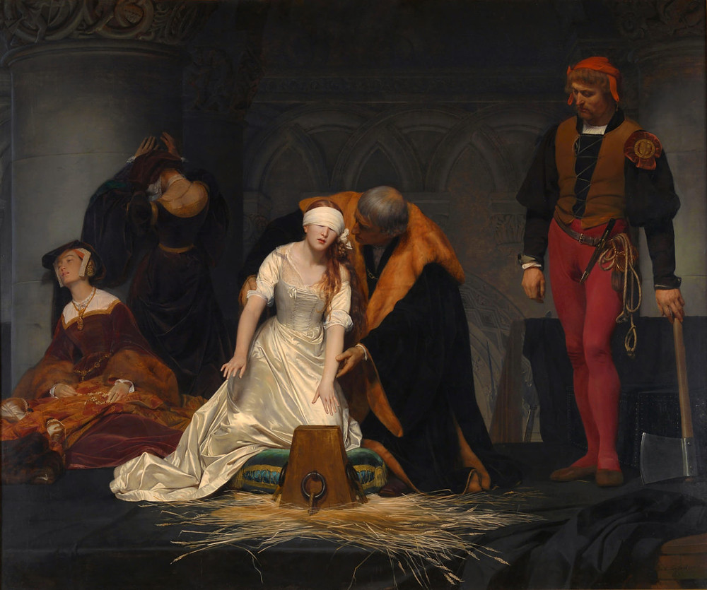 Paul Delaroche, The Execution of Lady Jane Grey, 1833 -- painting in the National Gallery of London