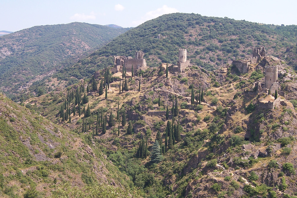 Cathar castles in the village of Lastours in southwest France