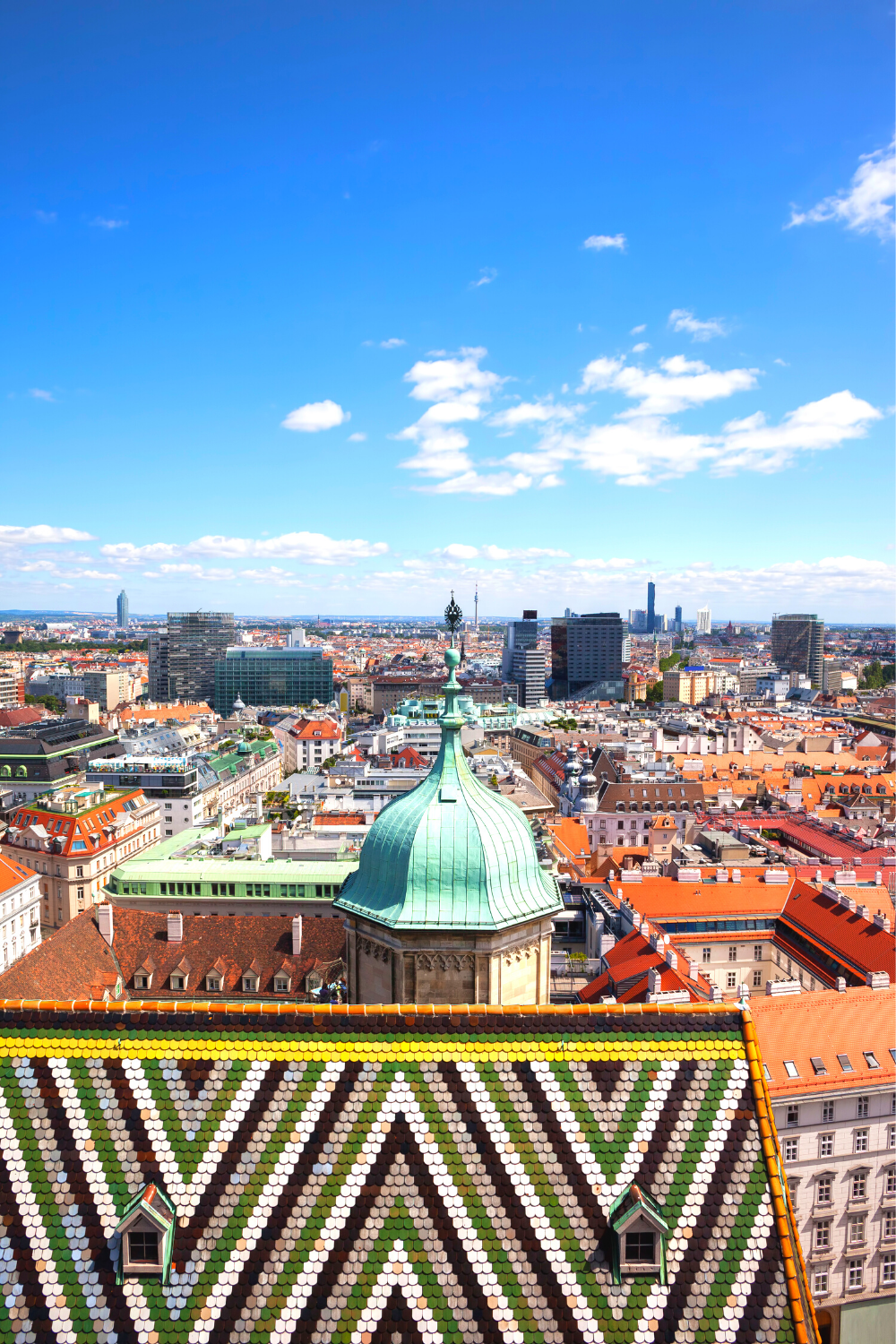 the colorful tiled roof and view from St. Stephen's Cathedral in Vienna