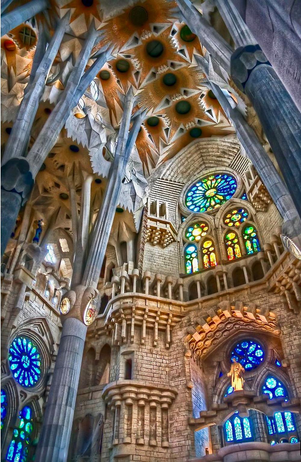 the nave and stained glass windows of Sagrada Familia in Barcleona