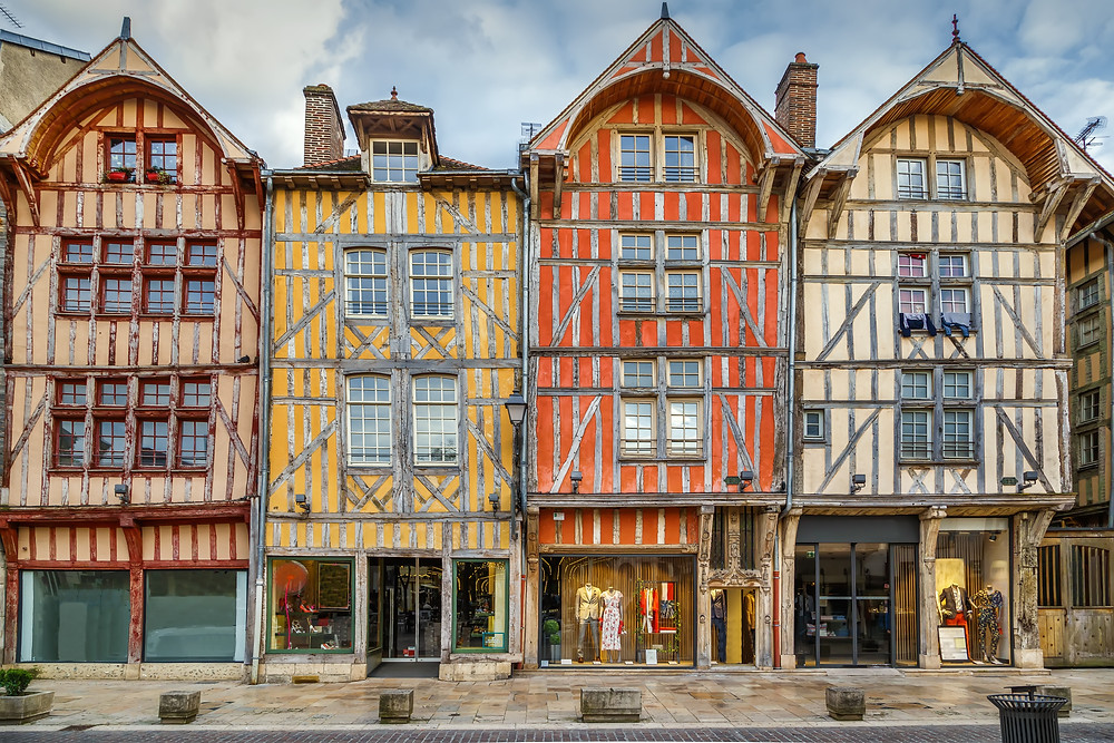 beautiful half timbered architecture in Troyes, a hidden gem in France