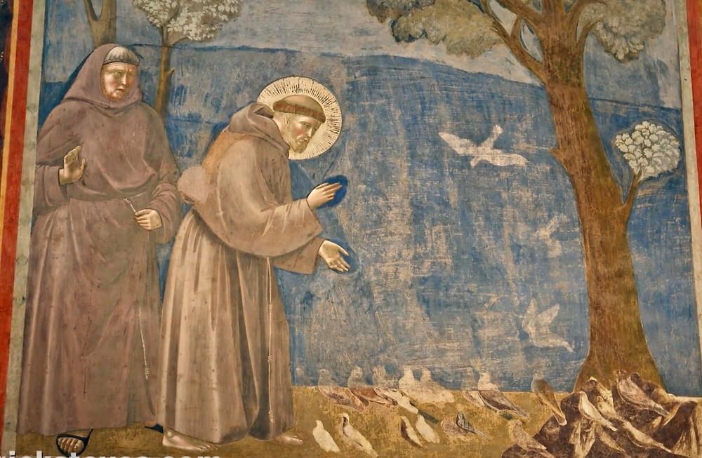 St. Francis preaching a sermon to the birds