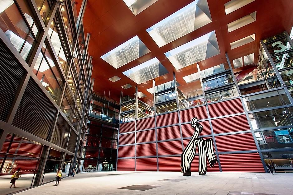 courtyard of the Reina Sofia Museum in Madrid, with a Roy Lichtenstein sculpture