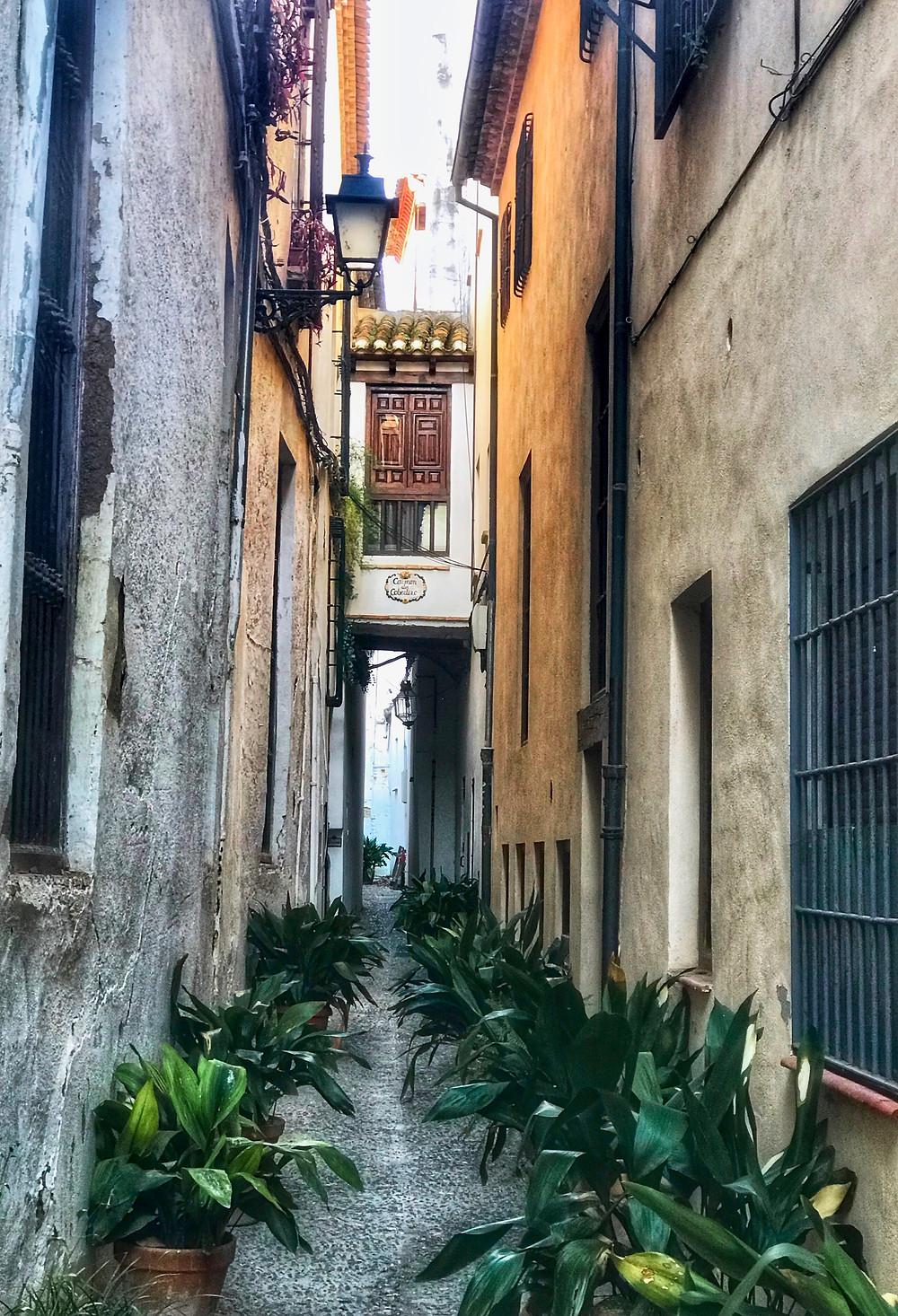 tiny cobbled land in Granada's Albaicín neighborhood