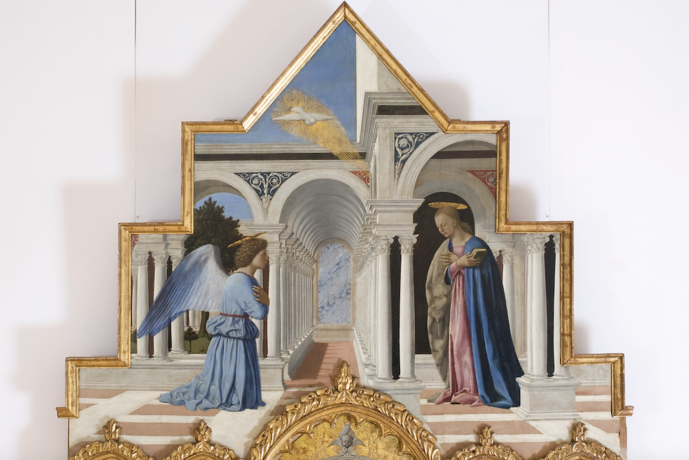 detail of the Annunciation in the Polyptych of Perugia by Piero della Francesca