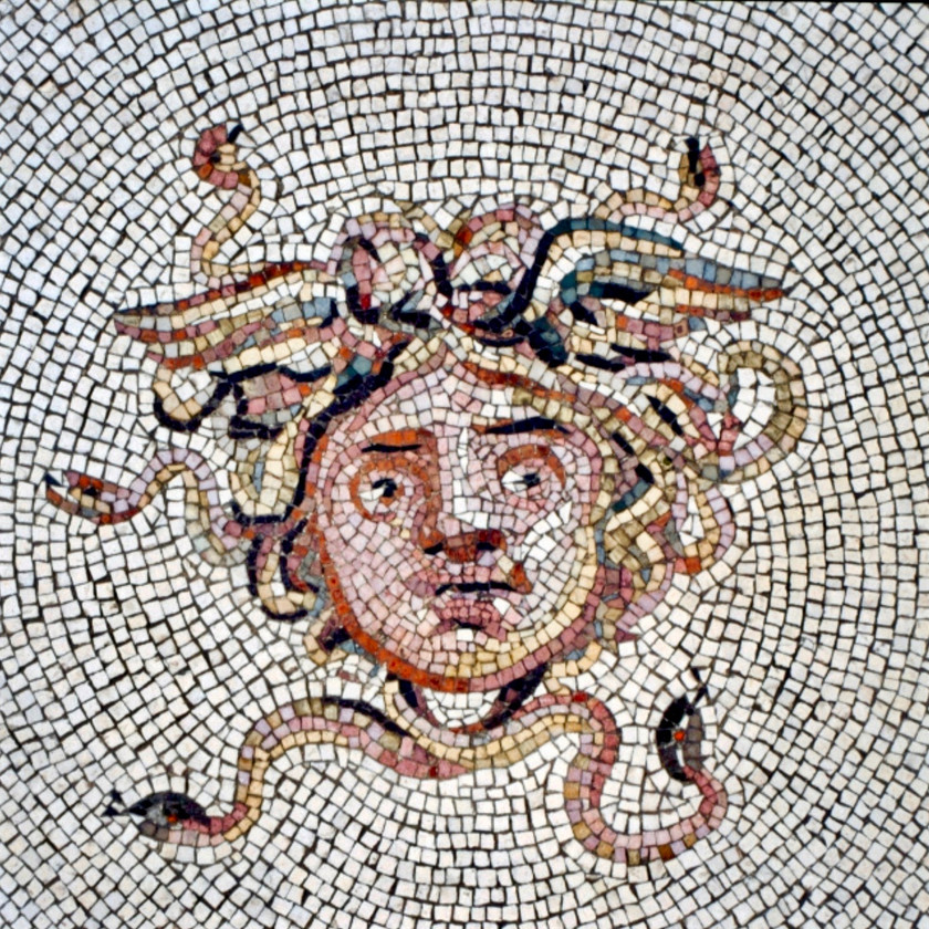 a Roman Medusa mosaic in the courtyard of the Isabella Stewart Gardner Museum