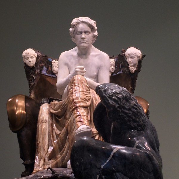 "the controversial ""bathhouse"" sculpture of Beethoven in the Leipzig Museum in Vienna"