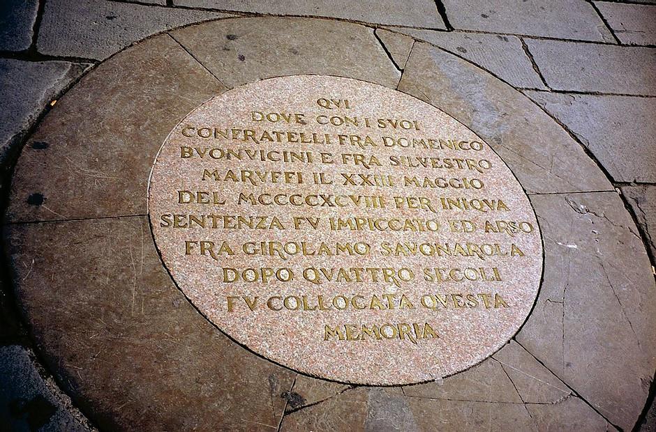the plaque in the Piazza della Signoria, which marks the spot of Savonarola's execution in Florence