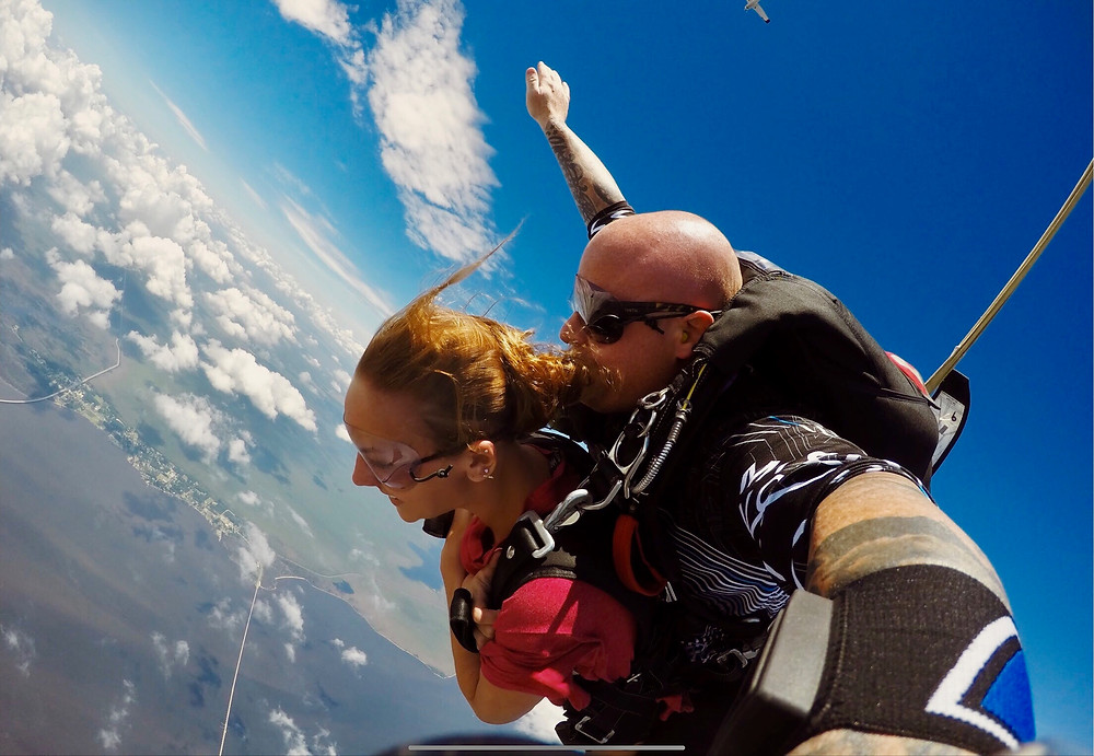 my daughter sky diving in the Outer Banks