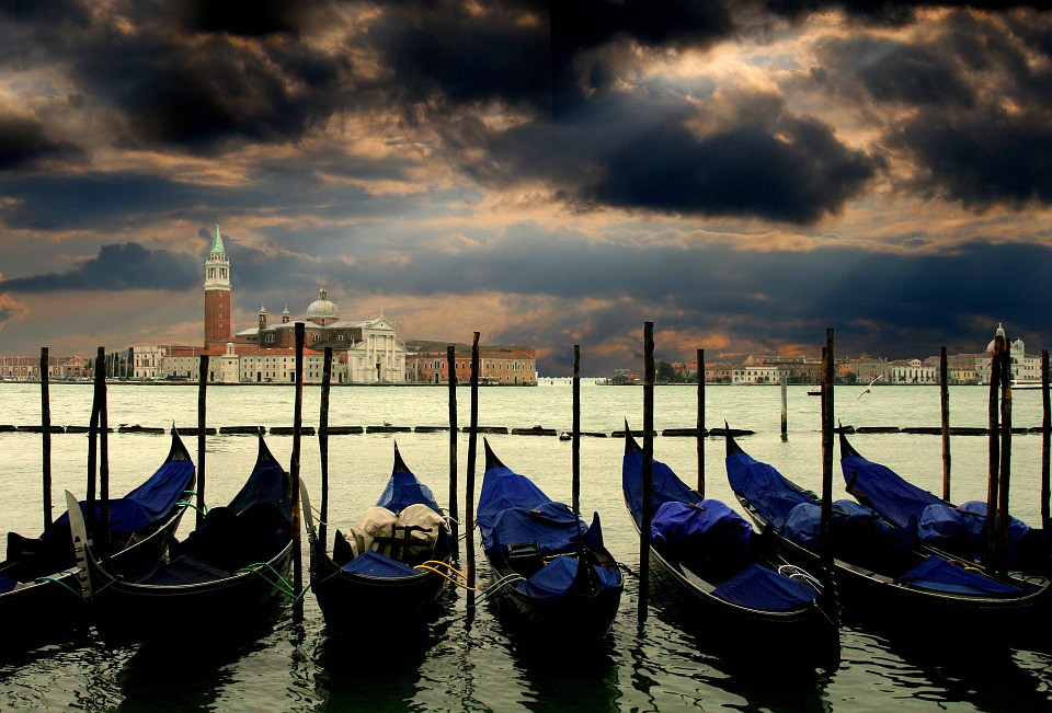 gondolas in Venice at twilight