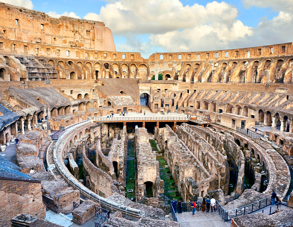 view of the Colosseum and its hypogeum or basement