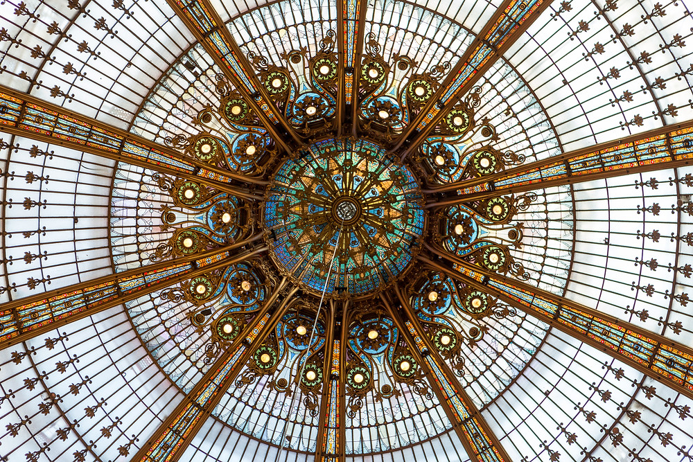 the stunning art nouveau dome of Galeries Lafayette in Paris