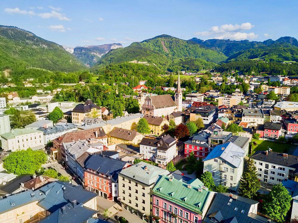 Bad Ischl Austria, aerial panoramic view
