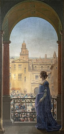 painting of La Belle Paule by her balcony by Henri Rachou