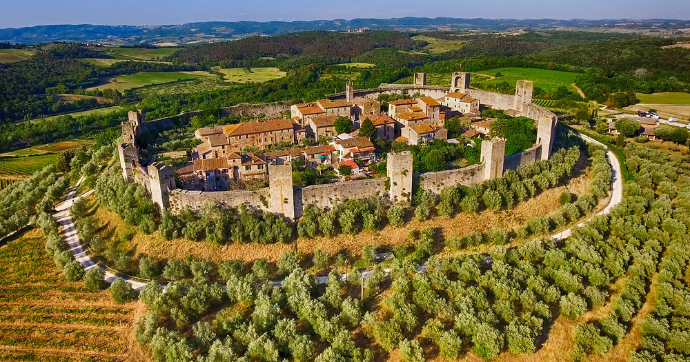 the walled town of Monteriggioni in the Tuscany region of Italy