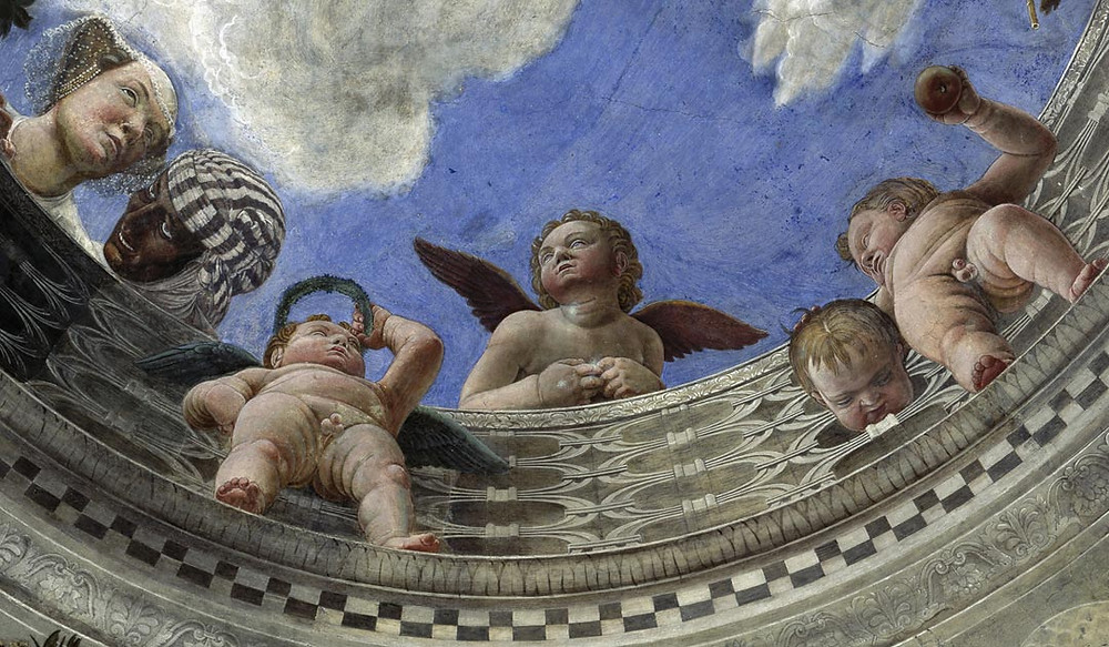 figures ringing the oculus of the Camera degli Sposi