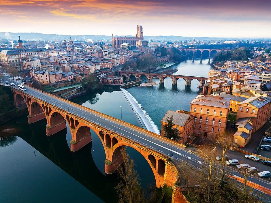 cityscape of Albi with Albi Cathedral in the background