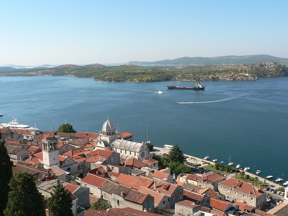 the dome of St. James' Cathedral on the Sibenik cityscape
