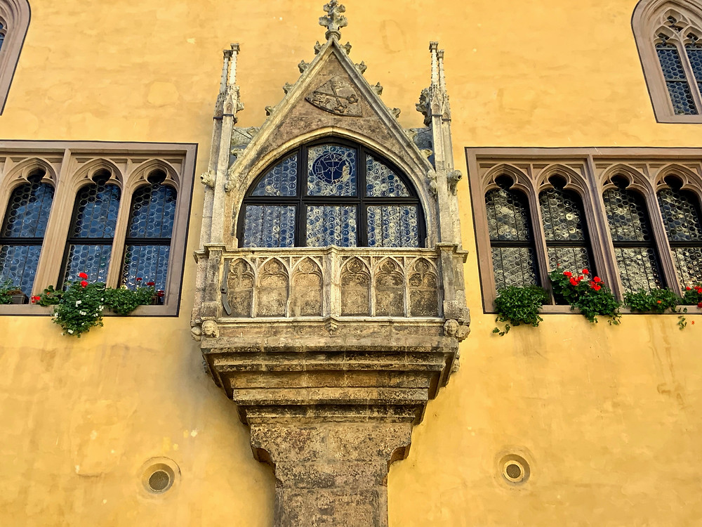 detail of the facade of the old town hall in Regensburg