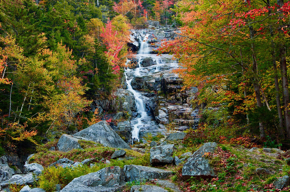 beautiful fall foliage at the Silver Cascade in Crawford Notch State Park