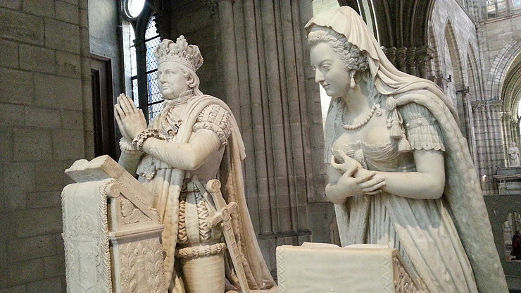 The funerary statues of Louis XVI and Marie Antoinette in prayer. They were guillotined in 1793. In 1815, the effigies were commissioned by Louis XVIII, to put an exclamation point on the restoration.