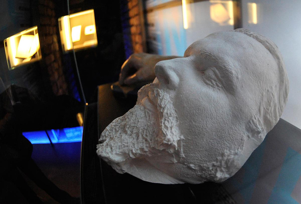 "A plaster death mask of King Ludwig II, viewed in Herrenchiemsee Castle, as part of an exhibition called ""Gotterdaemmerung."